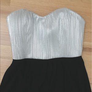 BCBG silver black strapless maxi dress size 2